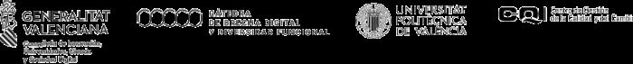 Logotipos de la Generalitat Valenciana, la cátedra de breecha digital y diversidad funcional, la universidad politécnica de valencia y el centro de gestión de la calidad y del cambio