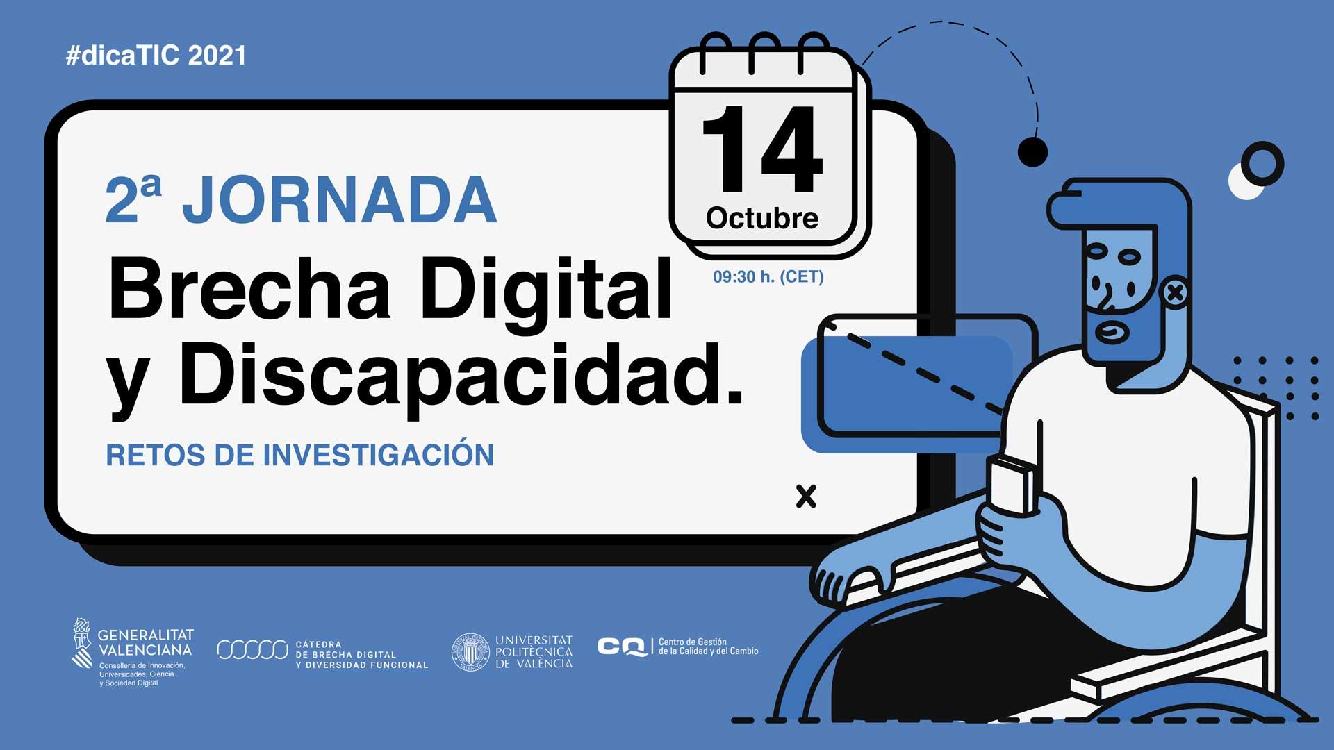 Gráfica anunciando la seguda jornada sobre brecha digital y discapacidad para el 14 de octubre.